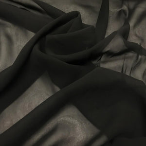 Silk Chiffon - Black - 10 Momme - 10mm- 1/2 Yard