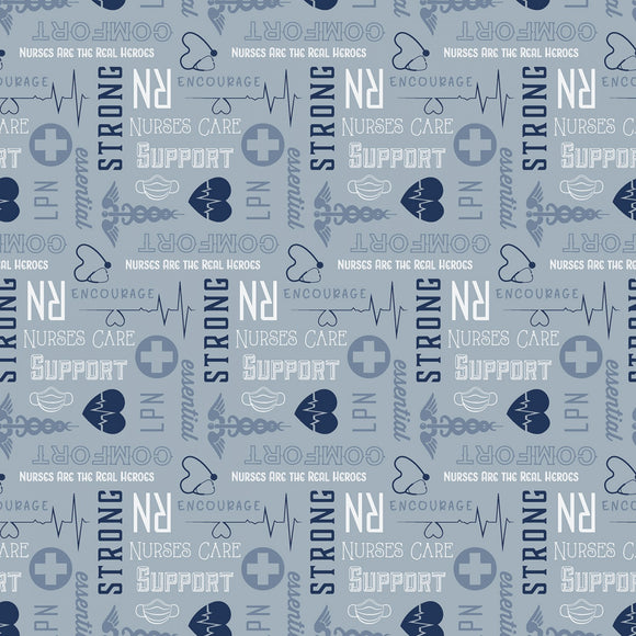 Riley Blake - Nobody Fights Alone - First Responder Blue - Nurses - 1/2 Yard
