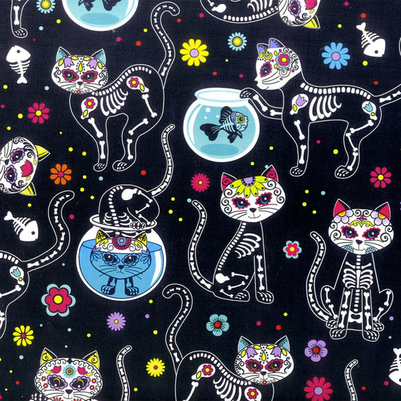 Timeless Treasures - Day of the Dead - Kitty - Sugar Skulls - 1/2 Yard