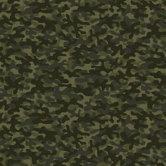 Timeless Treasures - Green Camo Blender - Cotton Fabric - 1/2 Yard