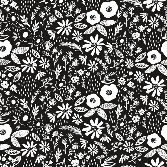 Riley Blake Juniper Cotton Fabric -  Black with White Flowers - 1/2 Yard