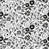 Riley Blake Juniper Cotton Fabric -  White with Black Flowers - 1/2 Yard