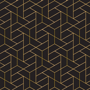 Camelot Fabrics Mixology Luxe - Tiled  - Metallic Gold - Black - 1/2 Yard
