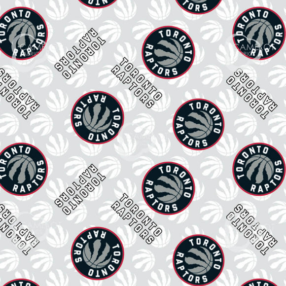 NBA Toronto Raptors Cotton Fabric - Camelot - Grey - 1/2 Yard