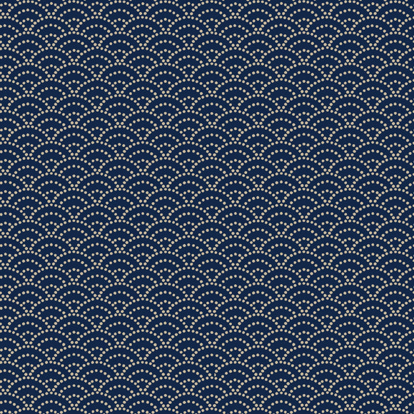 Cosmo Japan - Classic Japanese Style Indigo - Seikaiha - Ocean waves - Sashiko Dots - Cotton Fabric - 1/2 Yard