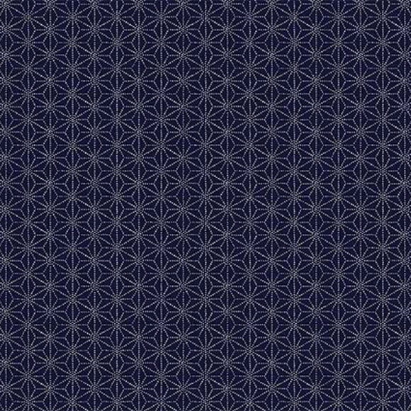 Cosmo Japan - Indigo Sheeting - Asanoha - Hemp Leaves - Sashiko Dots - Cotton Fabric - Navy Blue - 1/2 Yard