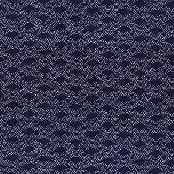 Cosmo Japan - Indigo Sheeting - Seikaiha - Ocean waves - Sashiko Dots - Cotton Fabric - Navy Blue - 1/2 Yard