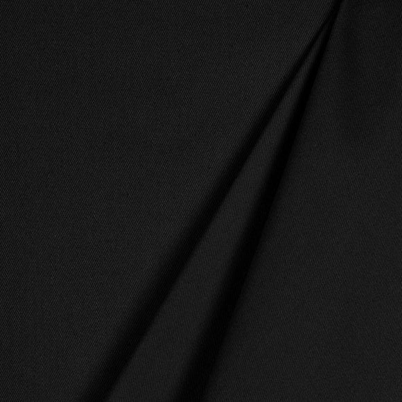 Organic Cotton Spandex  Twill  Fabric - Black - 1/2 Yard