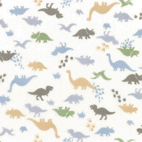 Handworks* Japan - Dinosaurs - Homey - Maya Ootani - Multi - Cotton Poplin Fabric - 1/2 Yard