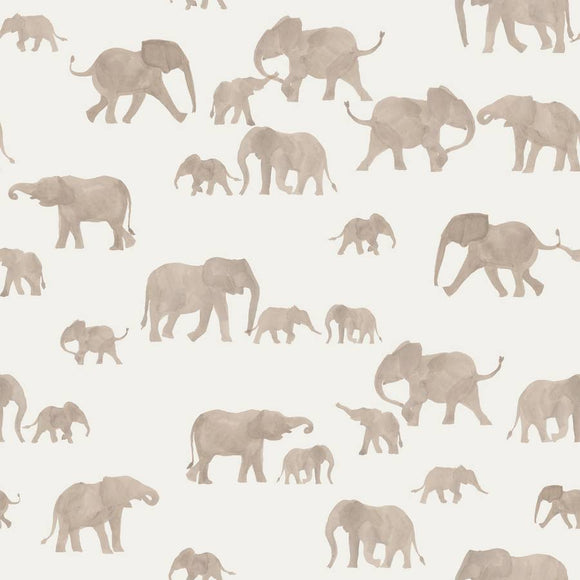 Elephants - Cotton French Terry Knit by Family Fabrics Netherlands - 1/2 Yard