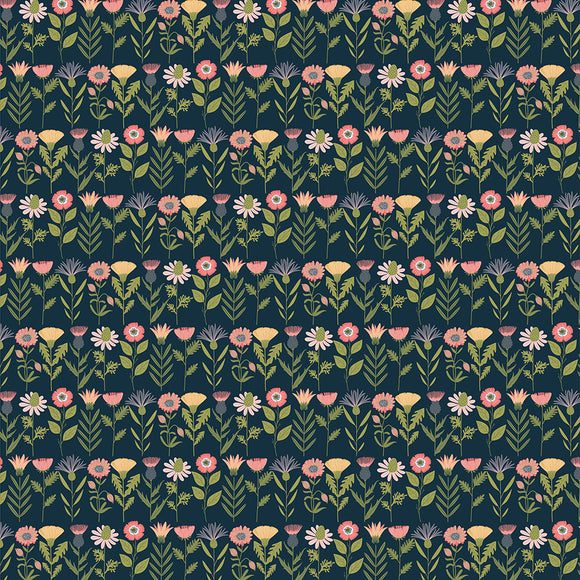 Poppie Cotton - Daisy Mae - Fresh Cuts - Navy Blue - 1/2 Yard