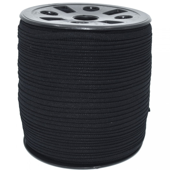 4.2mm Flat Banded Latex Free Nylon PPE Earloop Elastic - Black - 100 Yard Spool