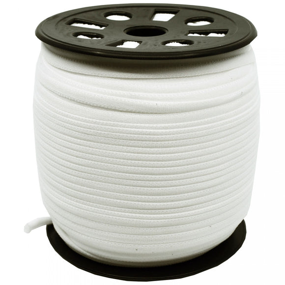 4.2mm Flat Banded Latex Free Nylon PPE Earloop Elastic - White - 100 Yard Spool
