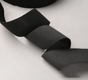 "32mm (1.25"") Soft Pre-Shrunk Knitted Elastic - Black - Priced per meter"