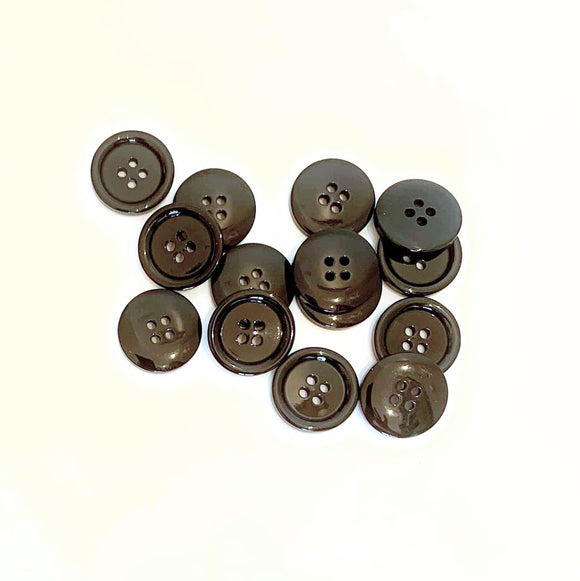 Black Suit Buttons 4-Hole - 15mm (3⁄5″) - per button or bulk
