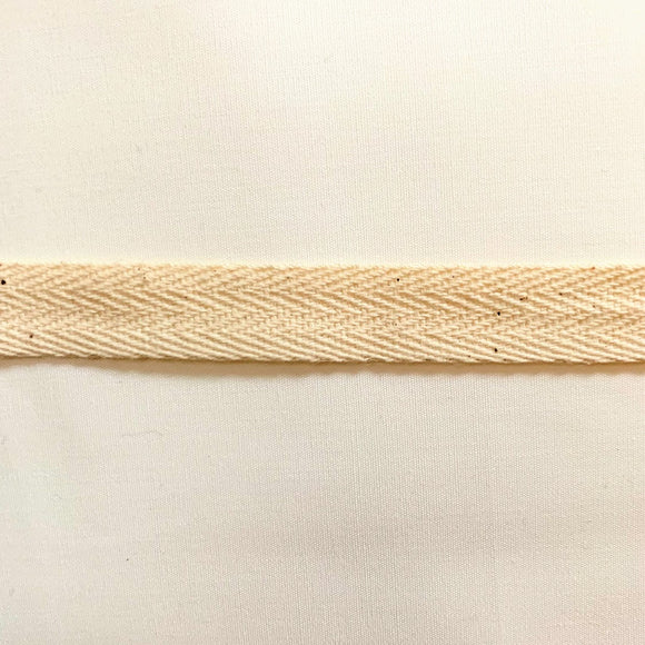 13mm Herringbone Twill Tape 100% Cotton - Natural - By the Meter OR 5 Meter