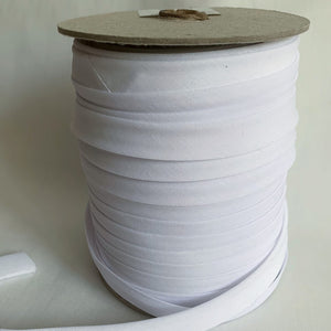 "Extra Wide Double Fold Bias Tape 13mm (1/2"") - White - Bulk / By the Yard"