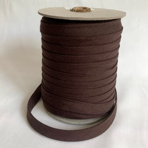 "Extra Wide Double Fold Bias Tape 13mm (1/2"") - Seal Brown - Bulk / By the Yard"