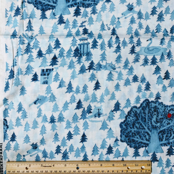 IHME Chamber x Kokka - Apple in the Forest - White - Double Gauze Fabric - 1/2 Yard