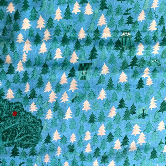 IHME Chamber x Kokka - Apple in the Forest - Blue - Double Gauze Fabric - 1/2 Yard