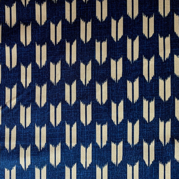 Westex Japan - Traditional Japanese Yabane Print - Arrow Feathers / Foxes - Cotton Fabric - Navy Blue - 1/2 Yard