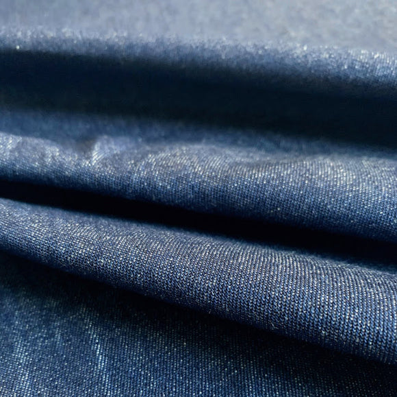 Laundered Indigo Denim 100% Cotton Fabric - 8oz - Washed Indigo - 1/2 Yard