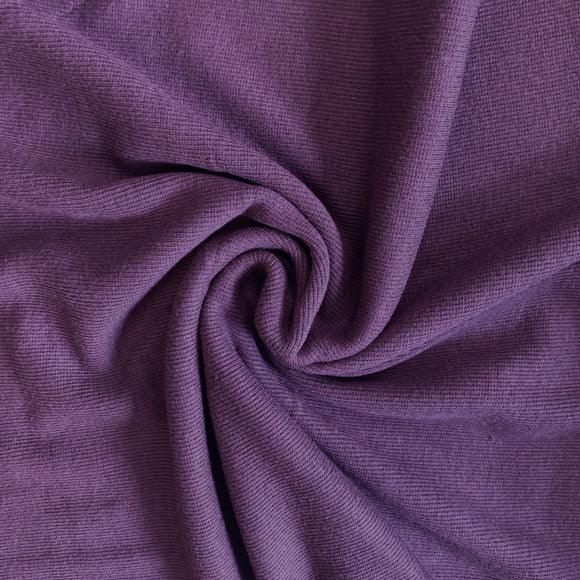 Bamboo Cotton Rib 2x2 - Dusty Purple - Ribbed Knit - 1/2 Yard