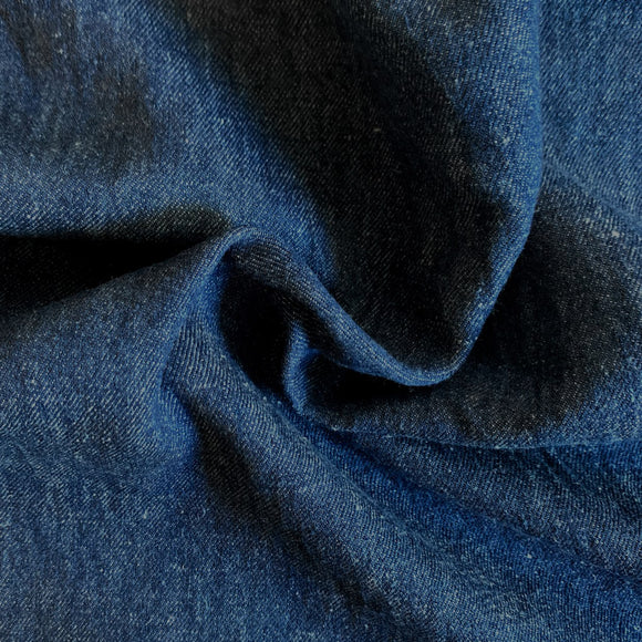 Light Weight Hemp Organic Cotton Denim Fabric - Indigo Dyed Medium Dark Blue - 1/2 Yard