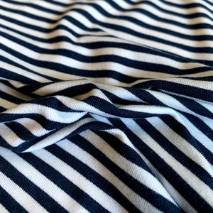 Bamboo Organic Cotton Mini Stripes Jersey Knit Fabric - 4mm Stripes - Navy and White - 1/2 Yard