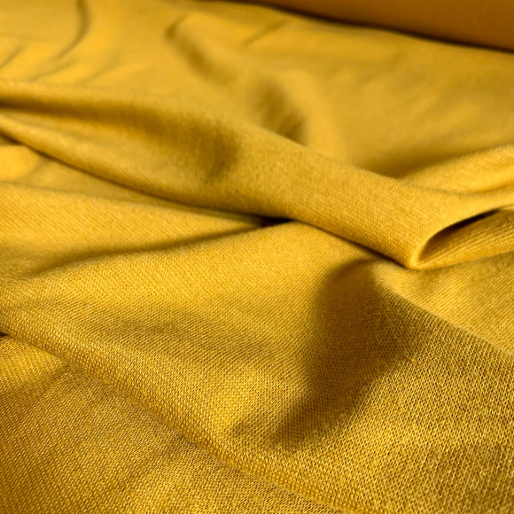 Bamboo Cotton 1x1 Rib Knit Fabric - Dark Mustard - 1/2 Yard