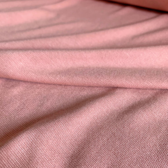 Bamboo Cotton 1x1 Rib Knit Fabric - Mellow Rose - 1/2 Yard