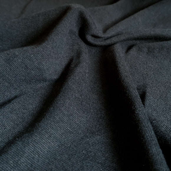 Bamboo Cotton 1x1 Rib Knit Fabric - Black - 1/2 Yard