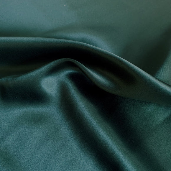 Silk Charmeuse Dark Hunter Green 19 Momme - Crepe Back Silk Satin 19mm - 1/2 yard