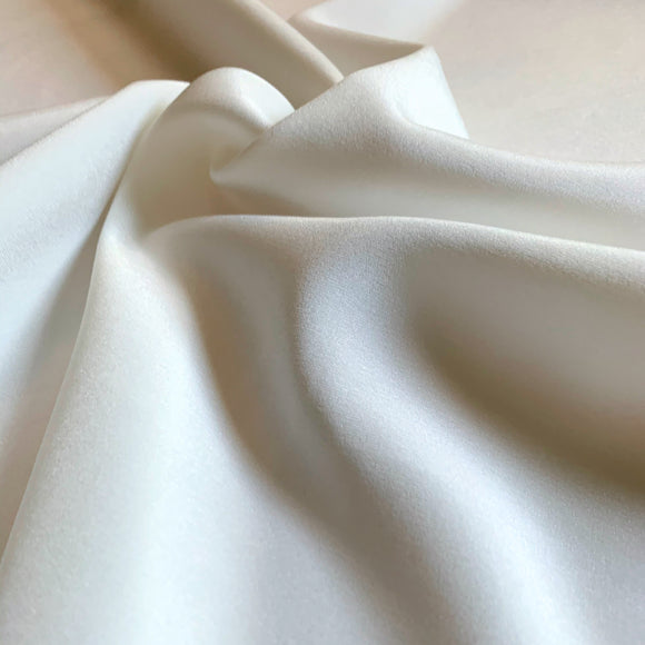 Ivory 3-Ply Heavy Stretch Silk Crepe De Chine 30 Momme - 30mm CDC - 1/2 yard