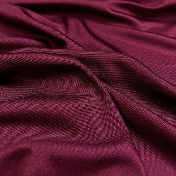 Wine Silk Interlock Jersey Knit Fabric - 40mm - 100% Silk - 56