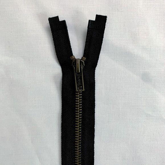Antique Brass - #5 Open Ended Separating Jacket Zipper - 55cm (22″) No. 5 - Black