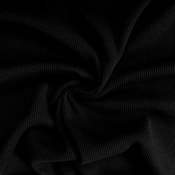 Organic Cotton Waffle Thermal Knit - Black - 1/2 Yard