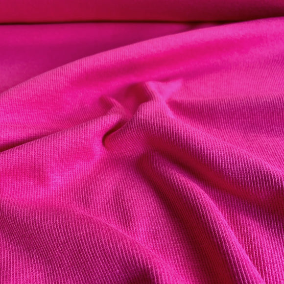 Bamboo Cotton Rib 2x2 - Bright Pink - Ribbed Knit - 1/2 Yard