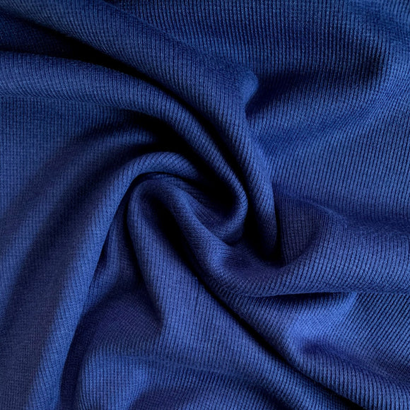 Bamboo Cotton Rib 2x2 - Twilight Blue - Ribbed Knit - 1/2 Yard