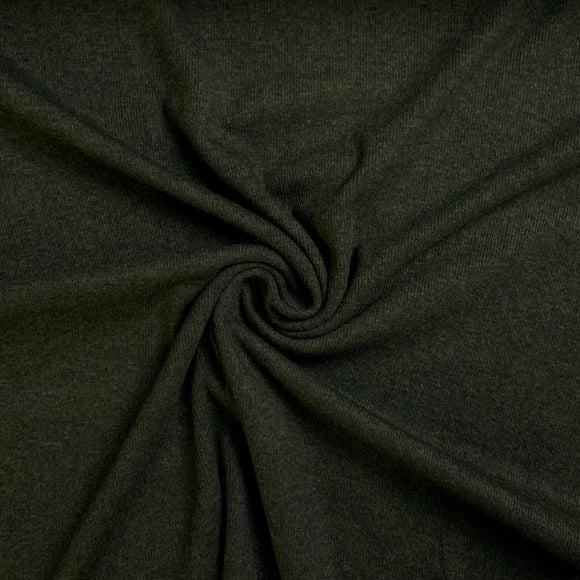 Bamboo Cotton Rib 2x2 - Heathered Forest Green - Ribbed Knit - 1/2 Yard