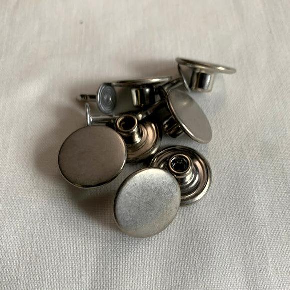 Antique Silver Jean Buttons - 17mm (3⁄5″) - Set of Two