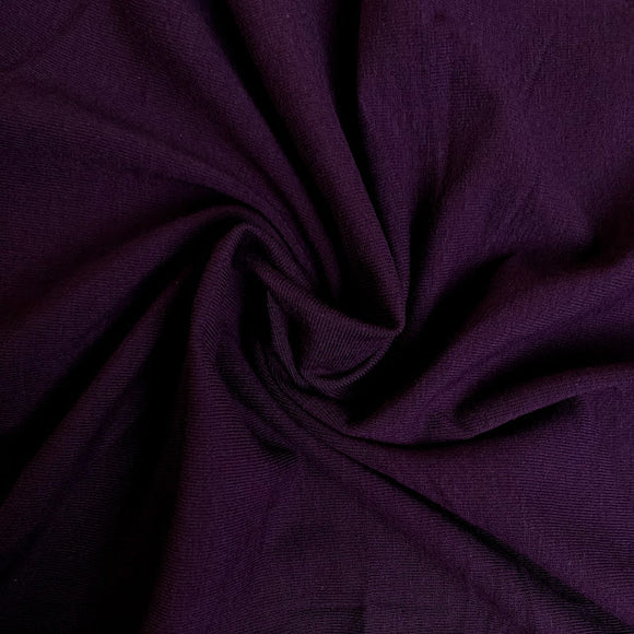 Organic Cotton Spandex Jersey Knit - Plum Purple - 1/2 Yard
