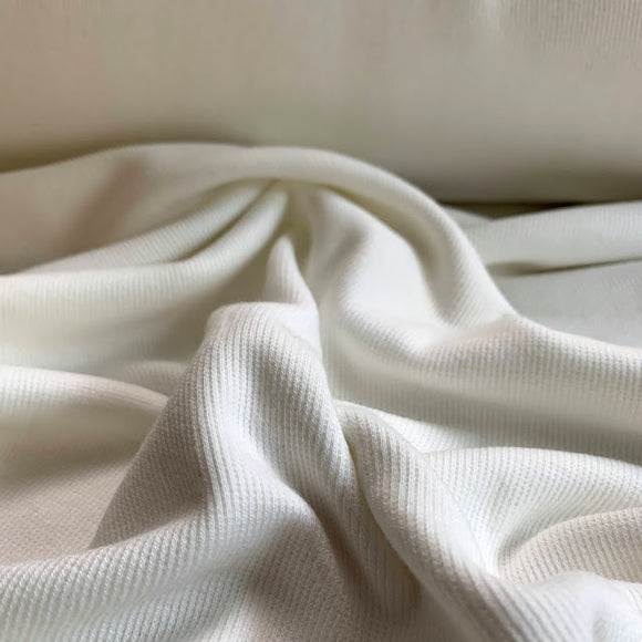 Bamboo Cotton Rib 2x2 - Ivory - Off White Ribbed Knit - 1/2 Yard