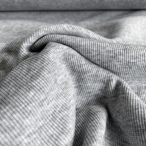 TENCEL™ Lyocell Organic Cotton 2x2 Ribbed Knit - Light Heathered Grey - 1/2 Yard