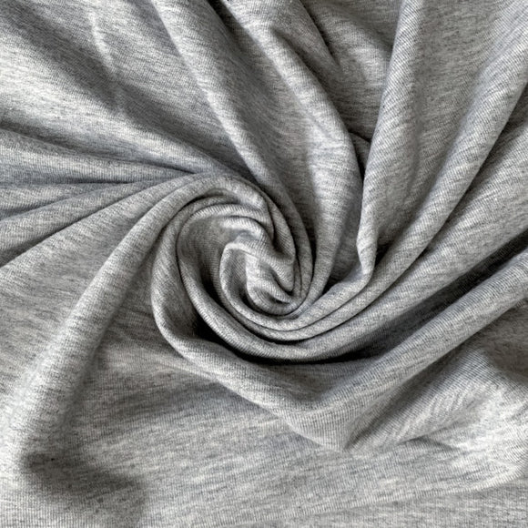 Organic Cotton Spandex Jersey Knit - Light Heather Grey - 1/2 Yard