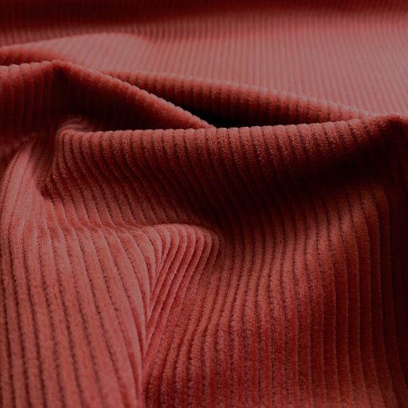 Organic Cotton Stretch Corduroy - Red Oak - 8 Whale - 1/2 Yard