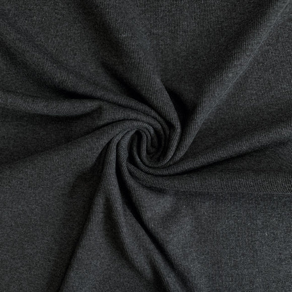 TENCEL™ Lyocell Organic Cotton 2x2 Ribbed Knit - Charcoal - 1/2 Yard