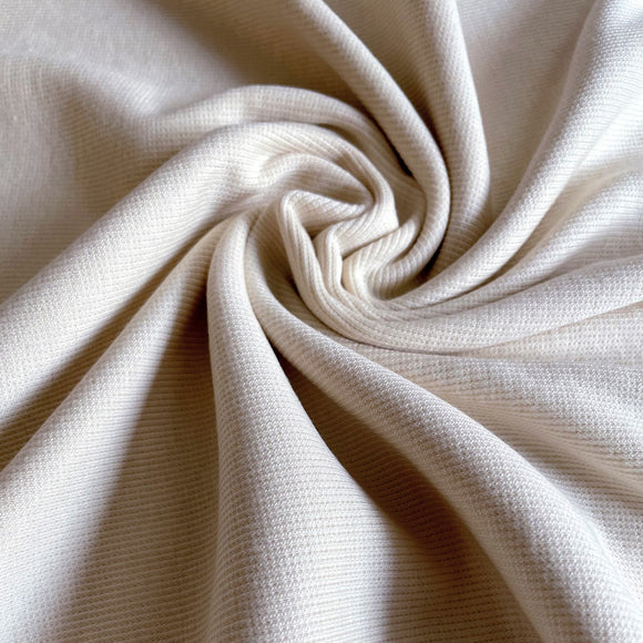 TENCEL™ Lyocell Organic Cotton 2x2 Ribbed Knit - Vanilla - 1/2 Yard