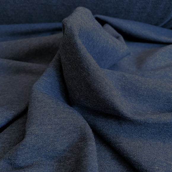 TENCEL™ Lyocell Organic Cotton French Terry - Heathered Lake - 1/2 Yard