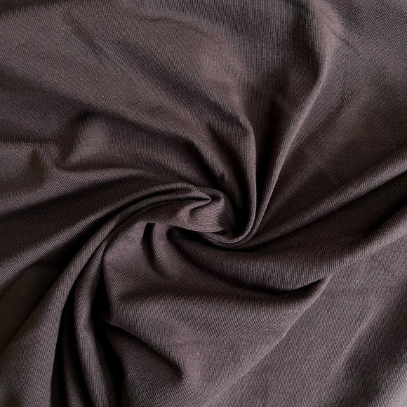 Organic Cotton Spandex Jersey Knit - Chocolate - 1/2 Yard